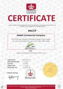 Certificates, maleki commercial co